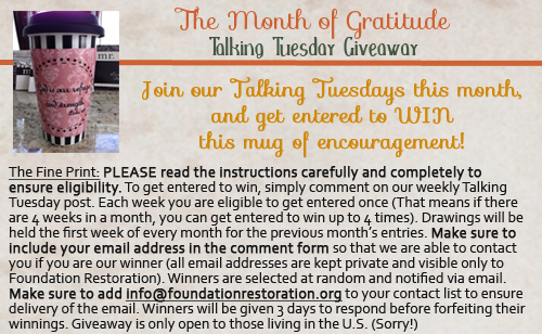 Gratitude Talking Tuesday Giveaway Details